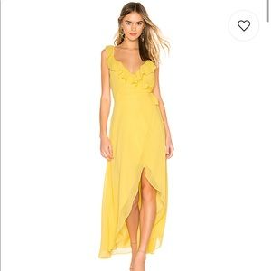 BB DAKOTA MAXI DRESS IN CITRUS/YELLOW w/ Wrap Tie